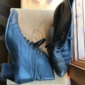 Vintage leather black lace up boots